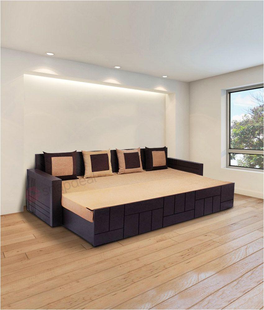 auspicious nelson brown sofa cum bed with four cushions