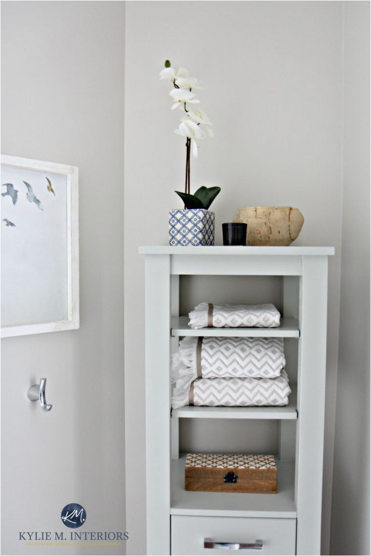 benjamin moore classic gray is great for home staging and selling with bathroom decor and linen
