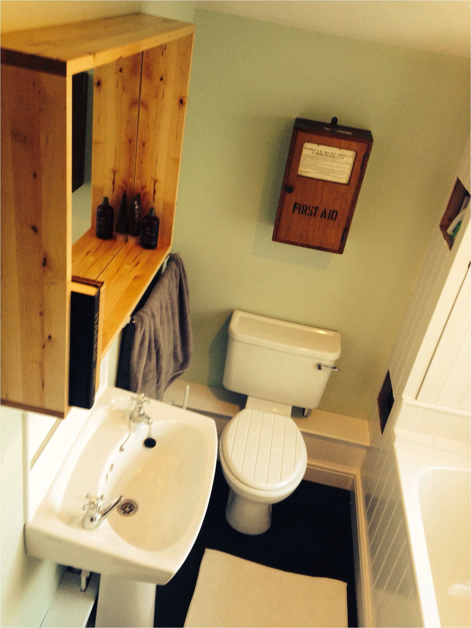 new bathroom with willow tree by dulux and an old first aid box dulux