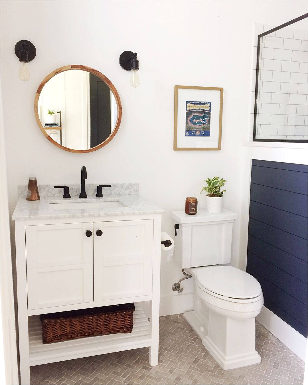 benjamin moore hale navy shiplap wall modern farmhouse bathroom