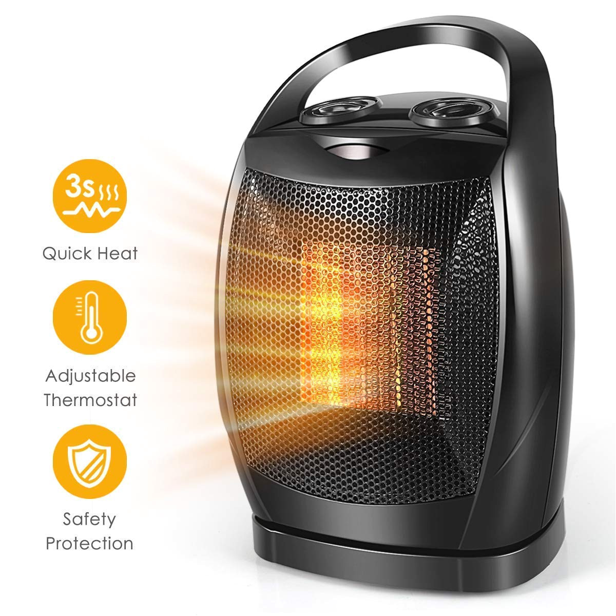 space heater 1500w fast heat small ceramic space heater for office small room desk