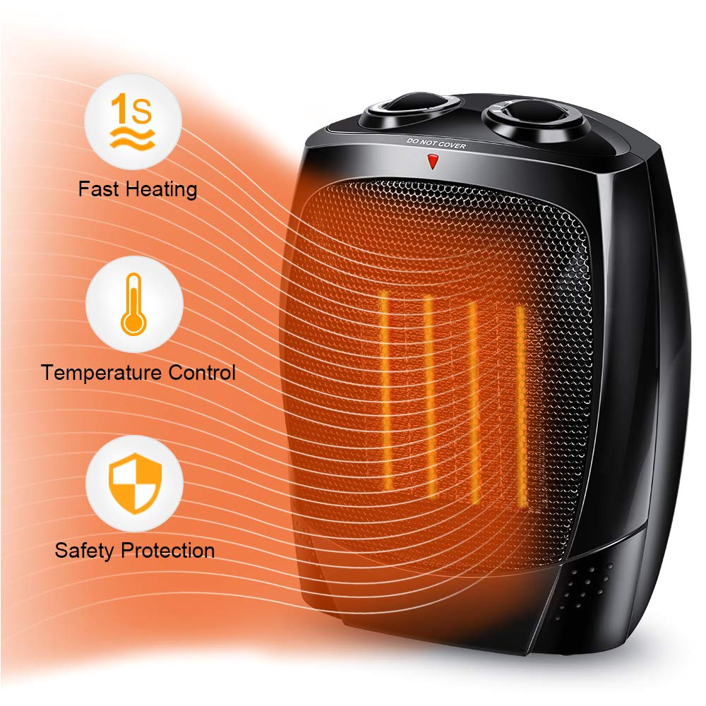 space heater 1500w portable heater with adjustable thermostat hot cool fan modes