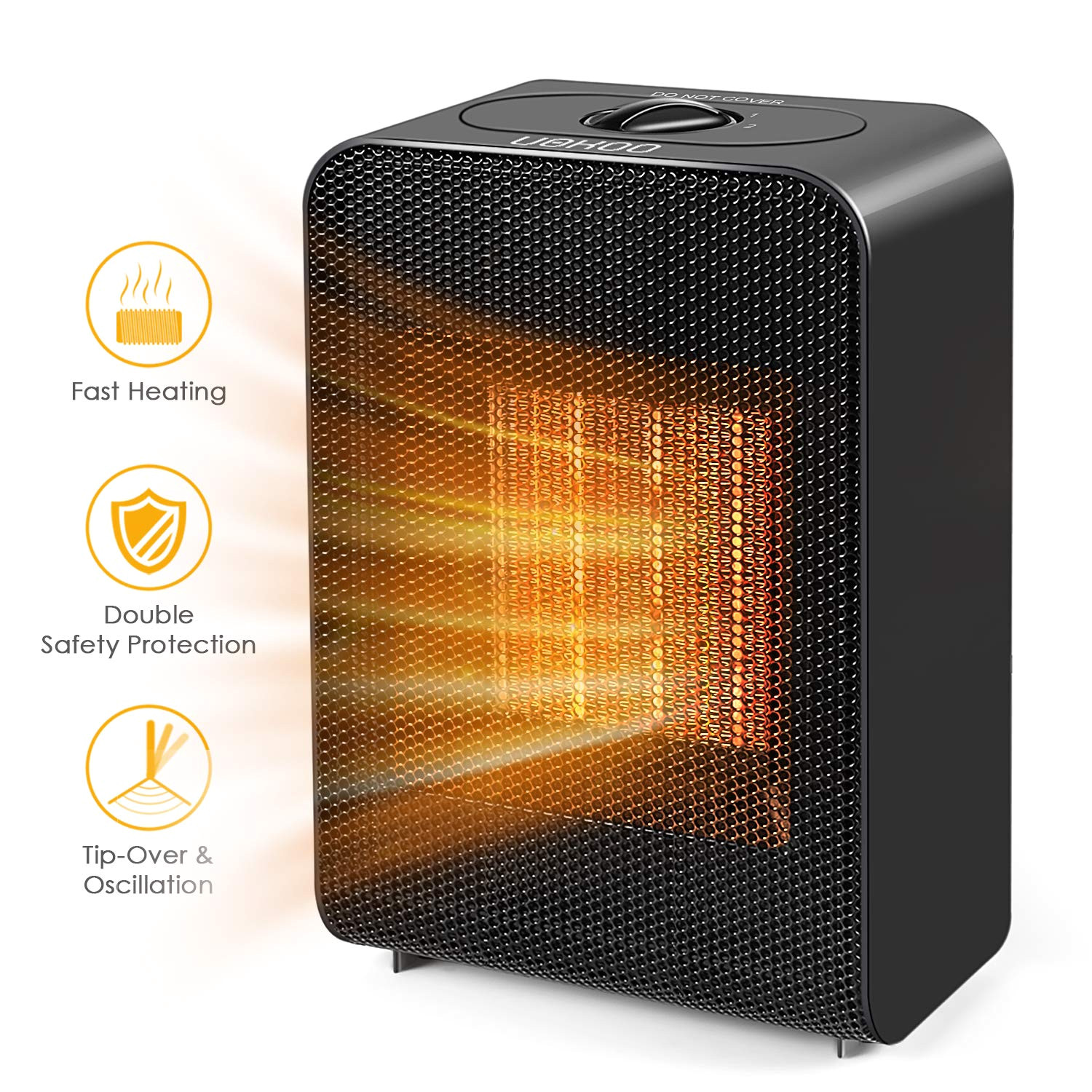 uokoo ceramic space heater portable fast heating electric heater fan indoor adjustable thermostat home bedroom