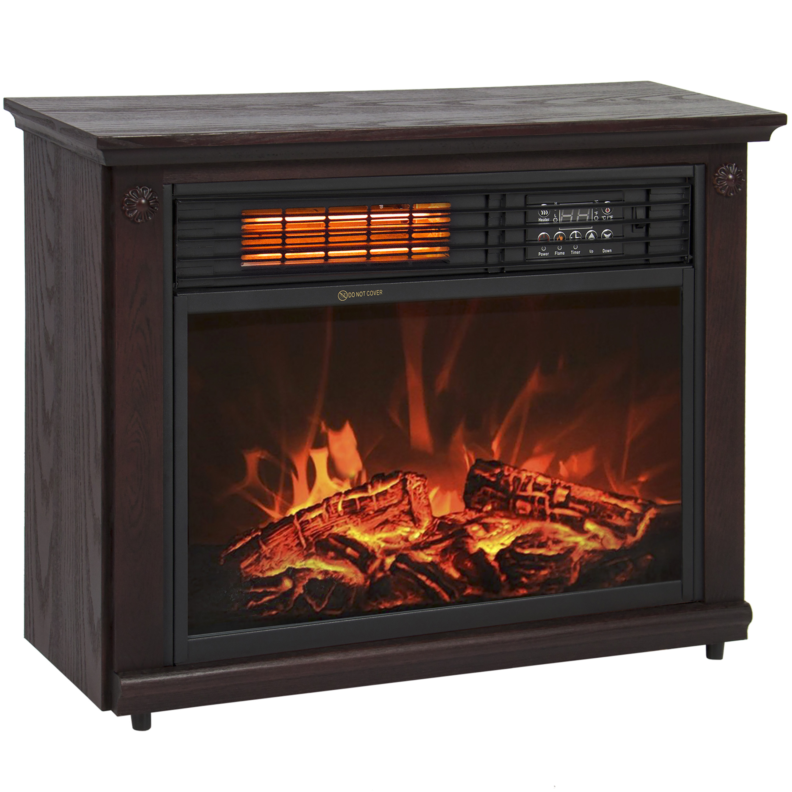 large room infrared quartz electric fireplace heater dark walnut finish w remote 0