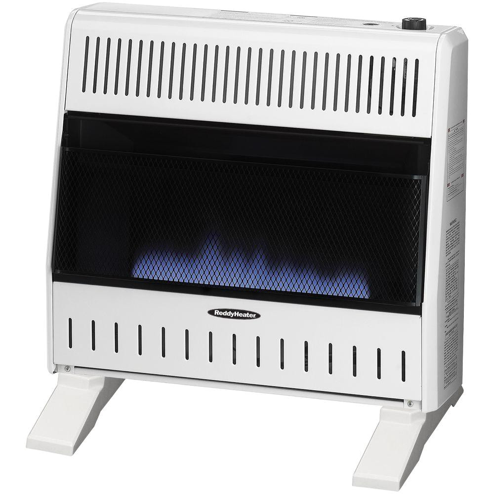 reddy heater 30 000 btu blue flame dual fuel wall heater with blower