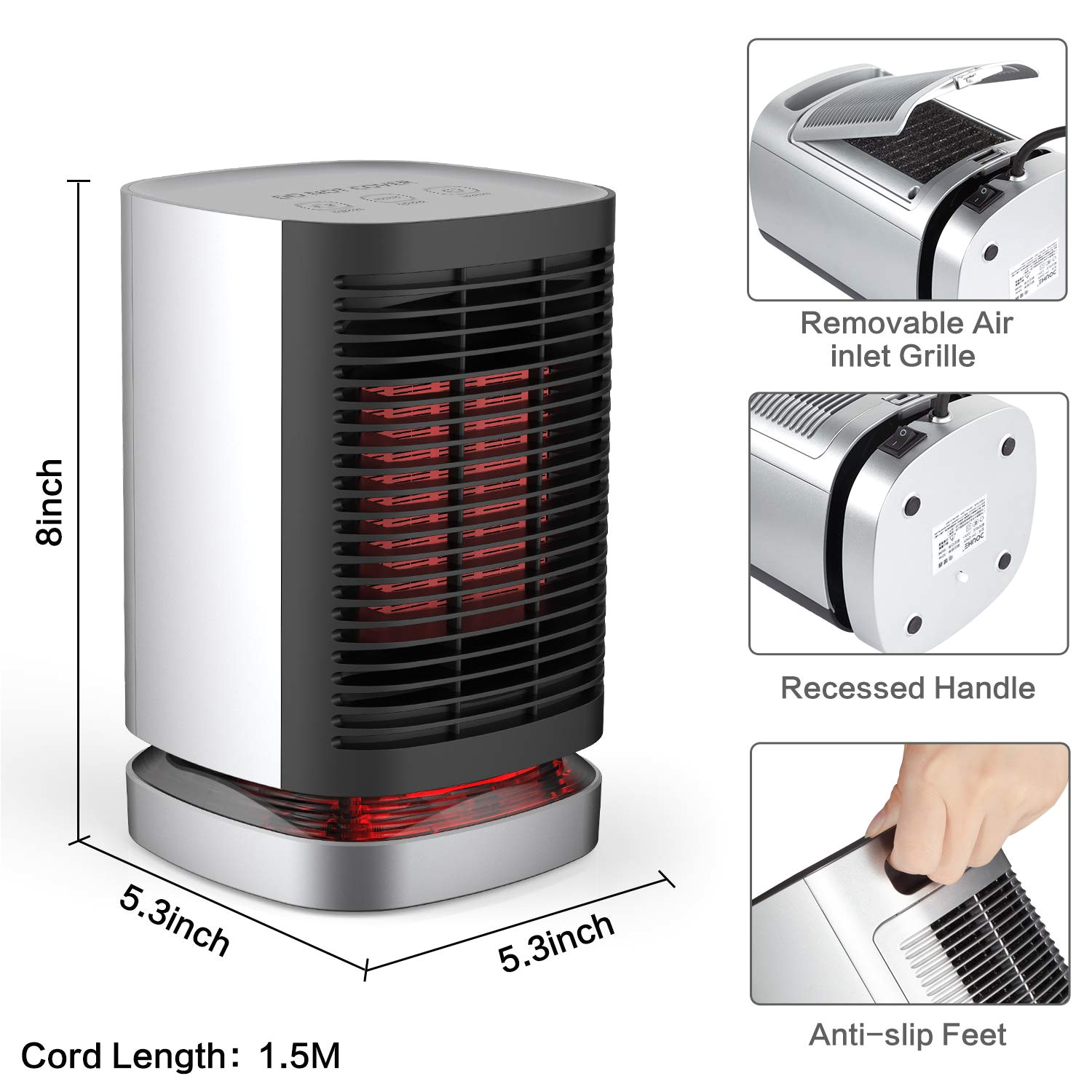 amazon com ailuki portable space heater 950w with oscillating function indoor desk personal heater with tip over and overheating protection ptc electric 2s