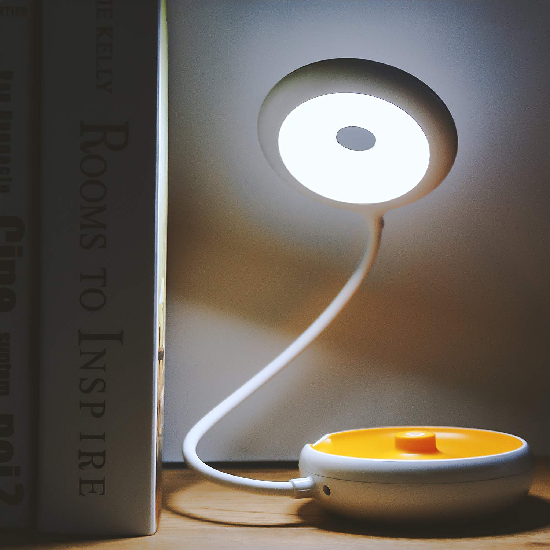 veesee study lamp led desk light bedside table reading dimmable 3 in 1 touch sensor eye care folding nursery night lighting children book learning orange