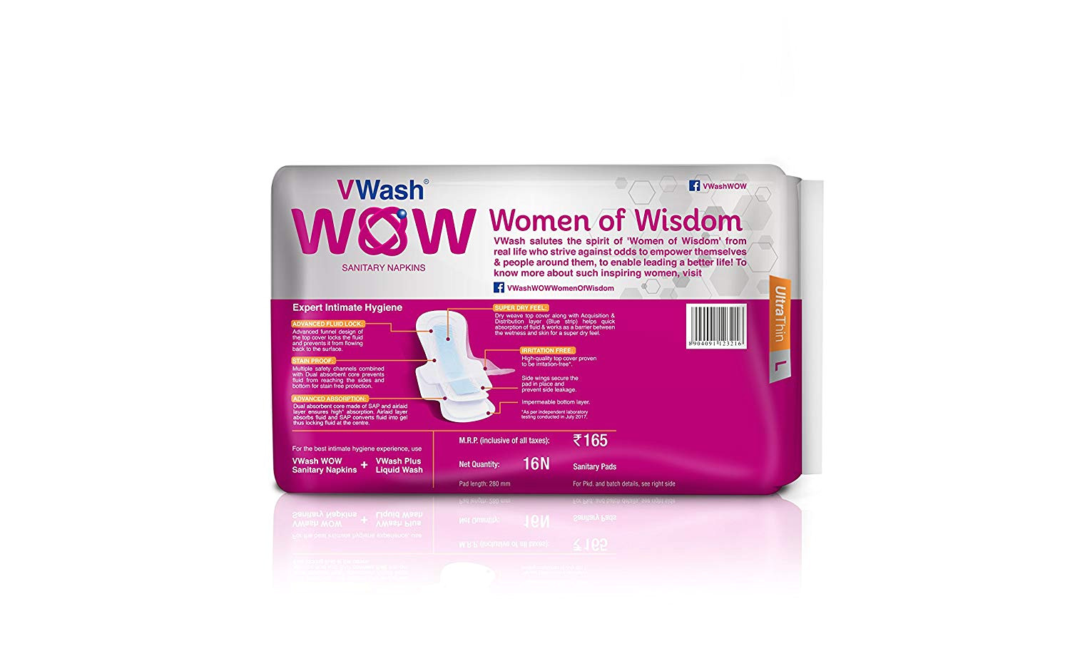 buy vwash wow sanitary napkin ultra thin 5 count regular online at low prices in india amazon in