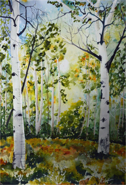 original landscape watercolor colorado aspens watercolor painting original fine art painting landscape art aspen tree painting