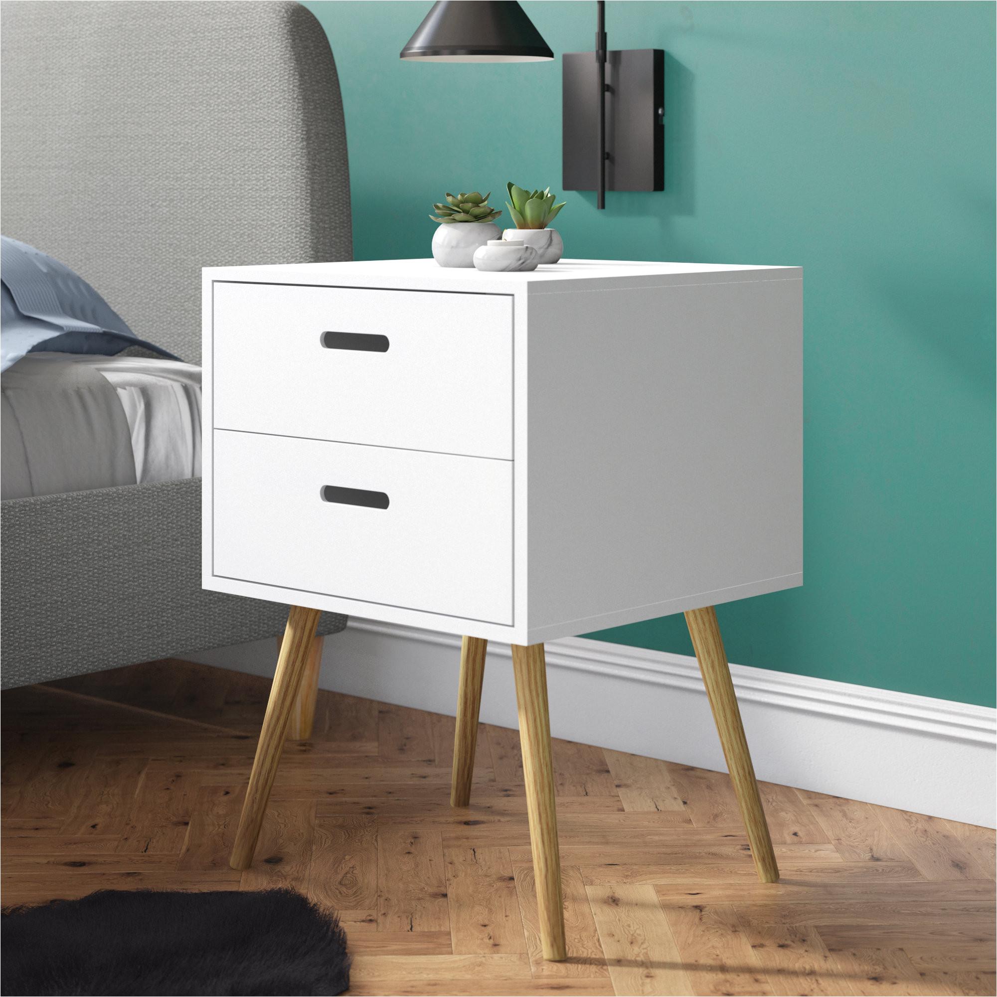 simona 2 drawer bedside side table