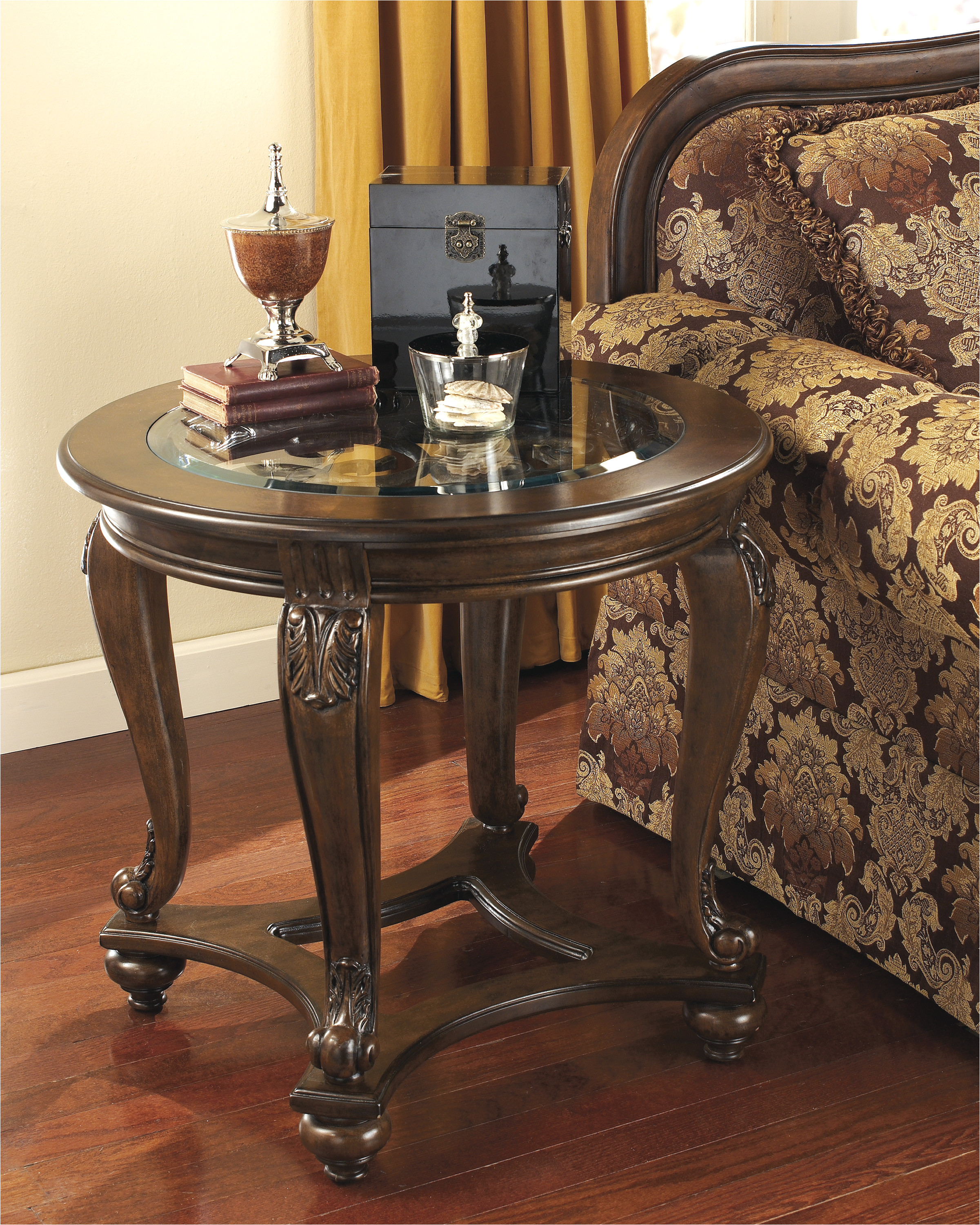 norcastle round end table ashley furniture hut wood tables two drawer nightstand big lots patio clearance