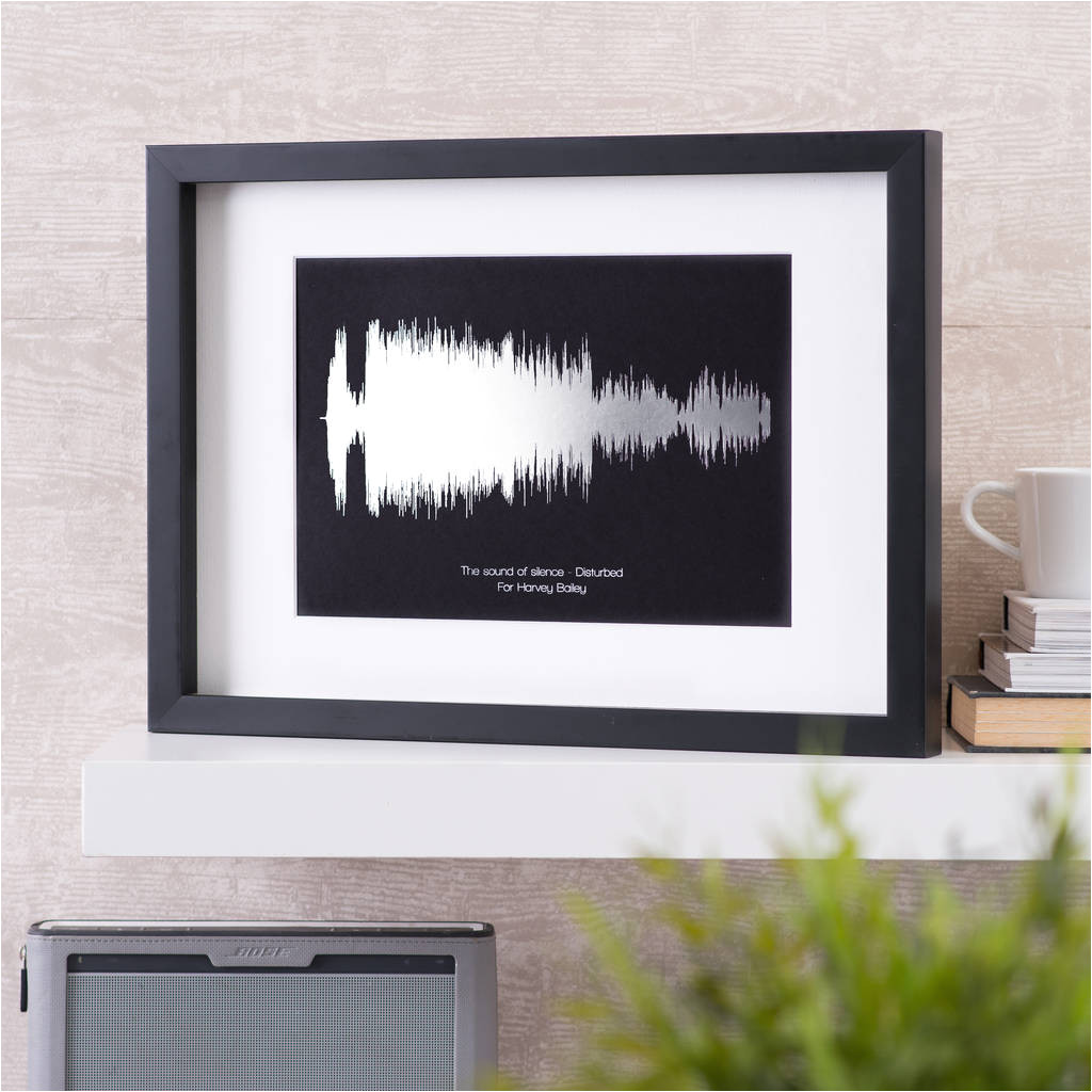 personalised metallic sound wave song print music lover