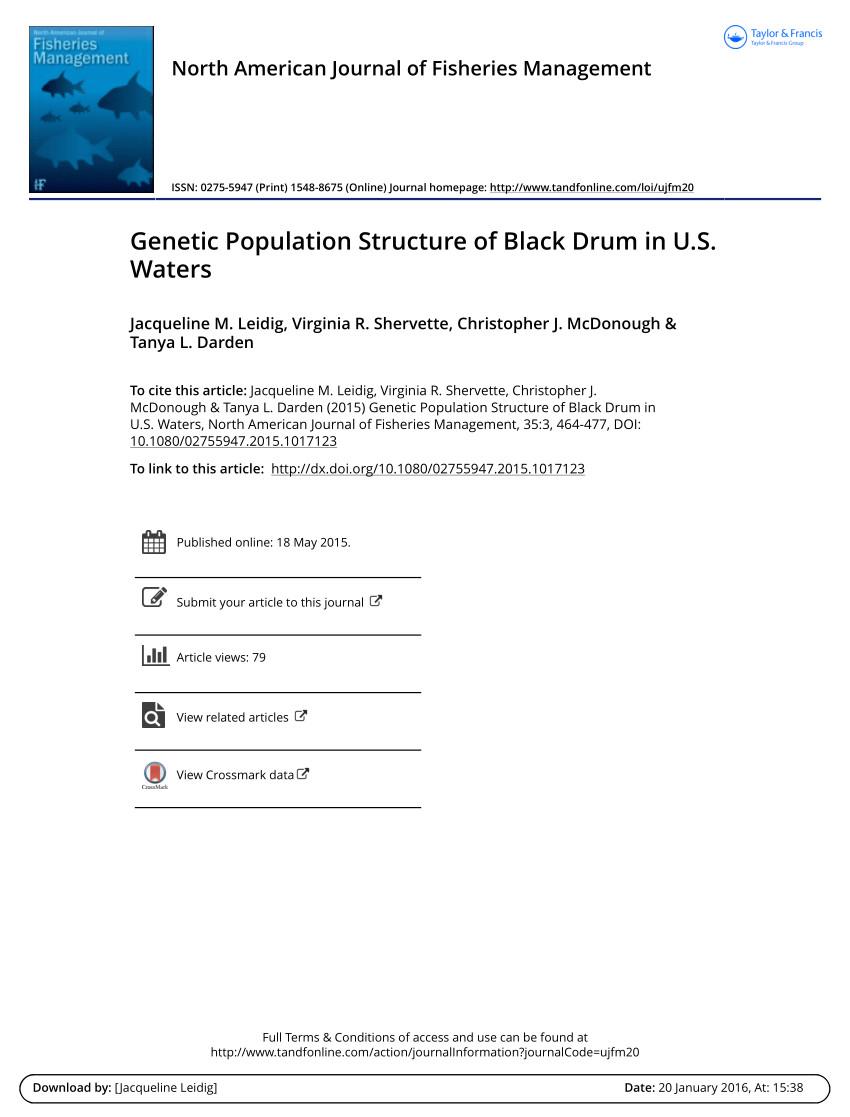 pdf genetic population structure of black drum in u s waters
