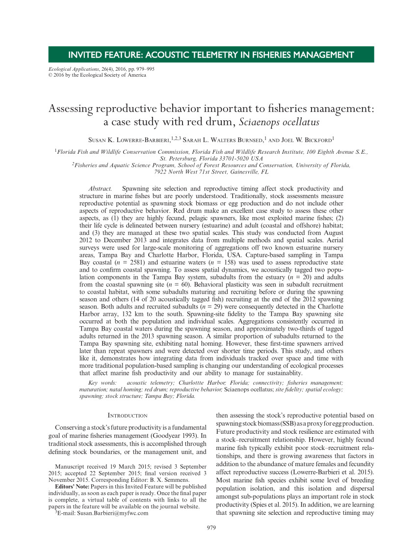 pdf movement patterns of adult red drum sciaenops ocellatus in shallow florida lagoons as inferred through autonomous acoustic telemetry