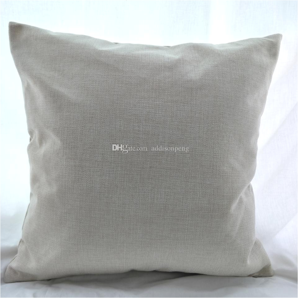16x16 inches natural poly linen pillow case blanks for diy sublimation plain burlap cushion cover embroidery blanks directly from factory poly linen pillow