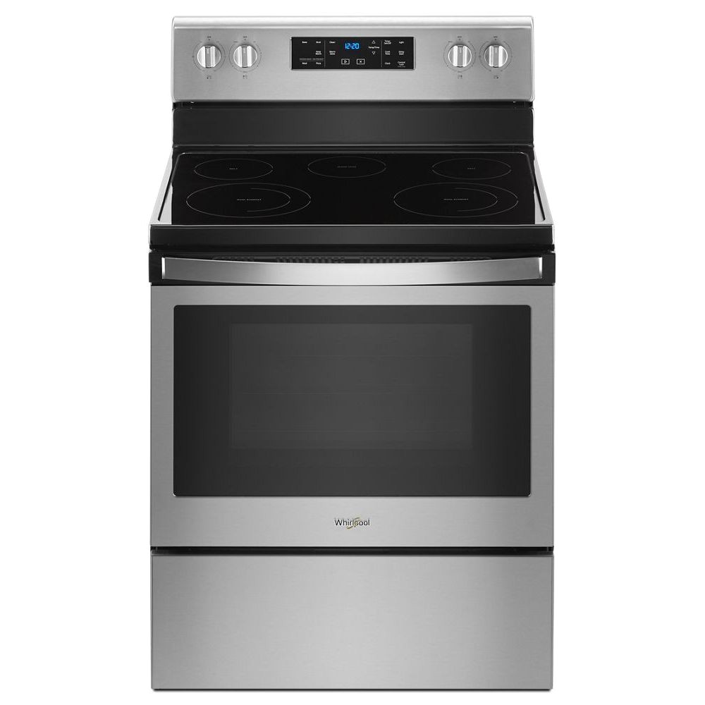 whirlpool 30 5 3 cu ft self clean electric electric range with frozen bakea technology fingerprint resistant ss