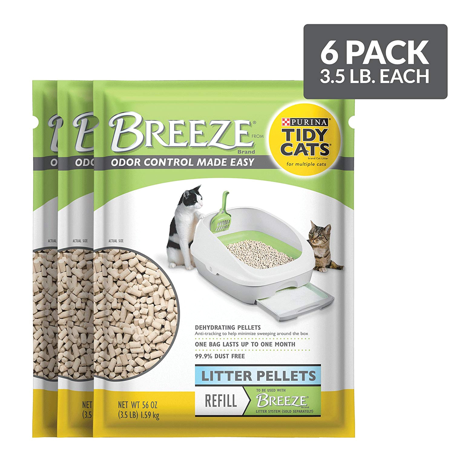 amazon com purina tidy cats breeze pellets refill cat litter 6 3 5 lb pouches pet litter pet supplies
