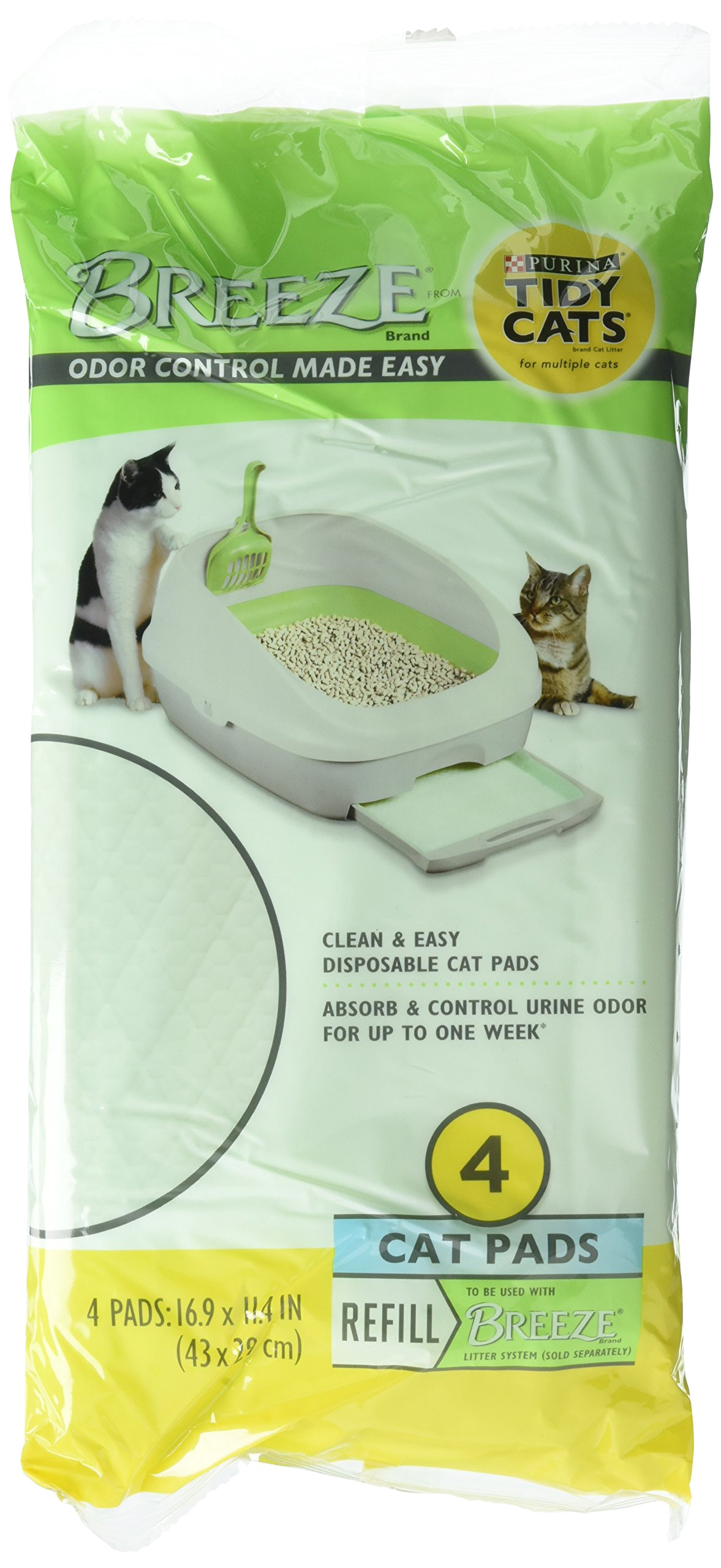 amazon com tidy cat breeze cat refill pads 16 9 x 11 4 4 packs 4ct cat litter pet supplies