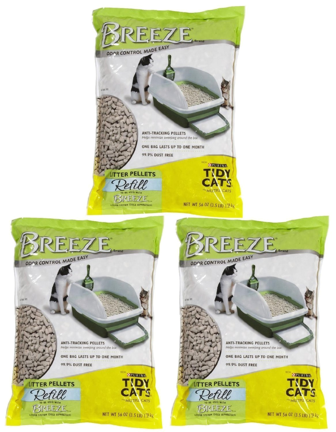 amazon com tidy cats pack of 3 breeze cat litter pellets 3 5 lb pet supplies