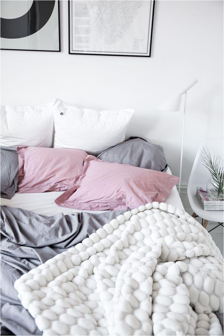 minimalist bedroom grey white and blush pink