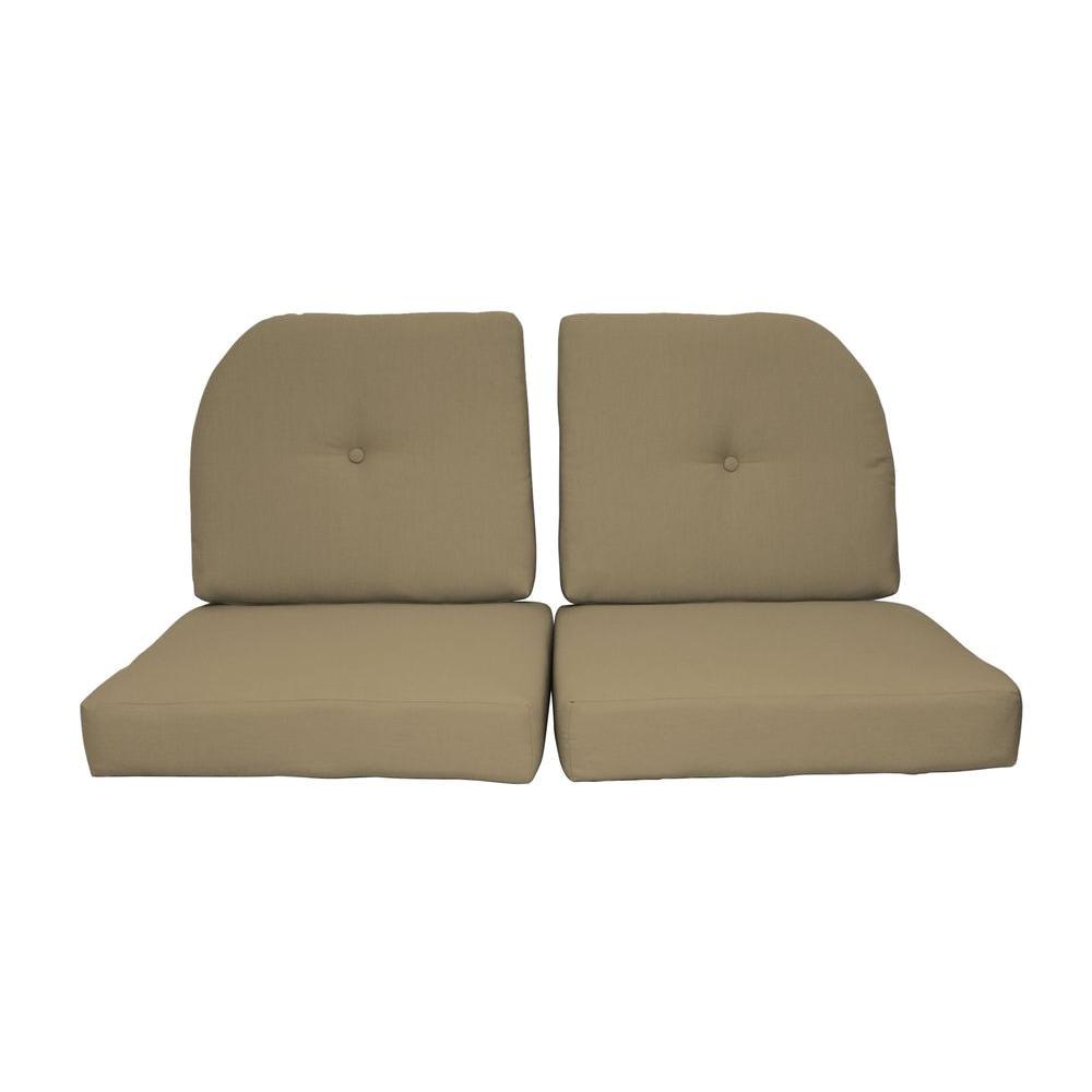 paradise cushions sunbrella sand 4 piece outdoor loveseat cushion set