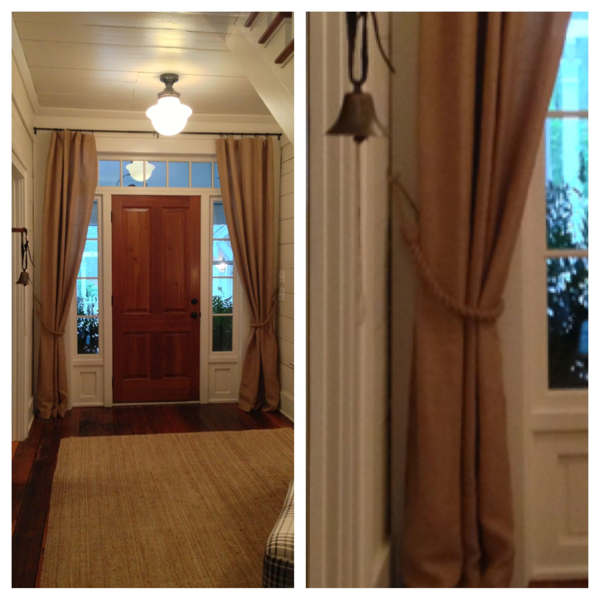burlap curtains burlap curtains in the foyer