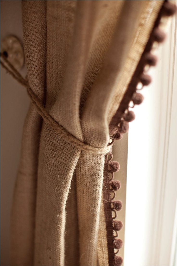 burlap curtain trim makes it special would love to add velvet draw pair w dotted swiss sheers
