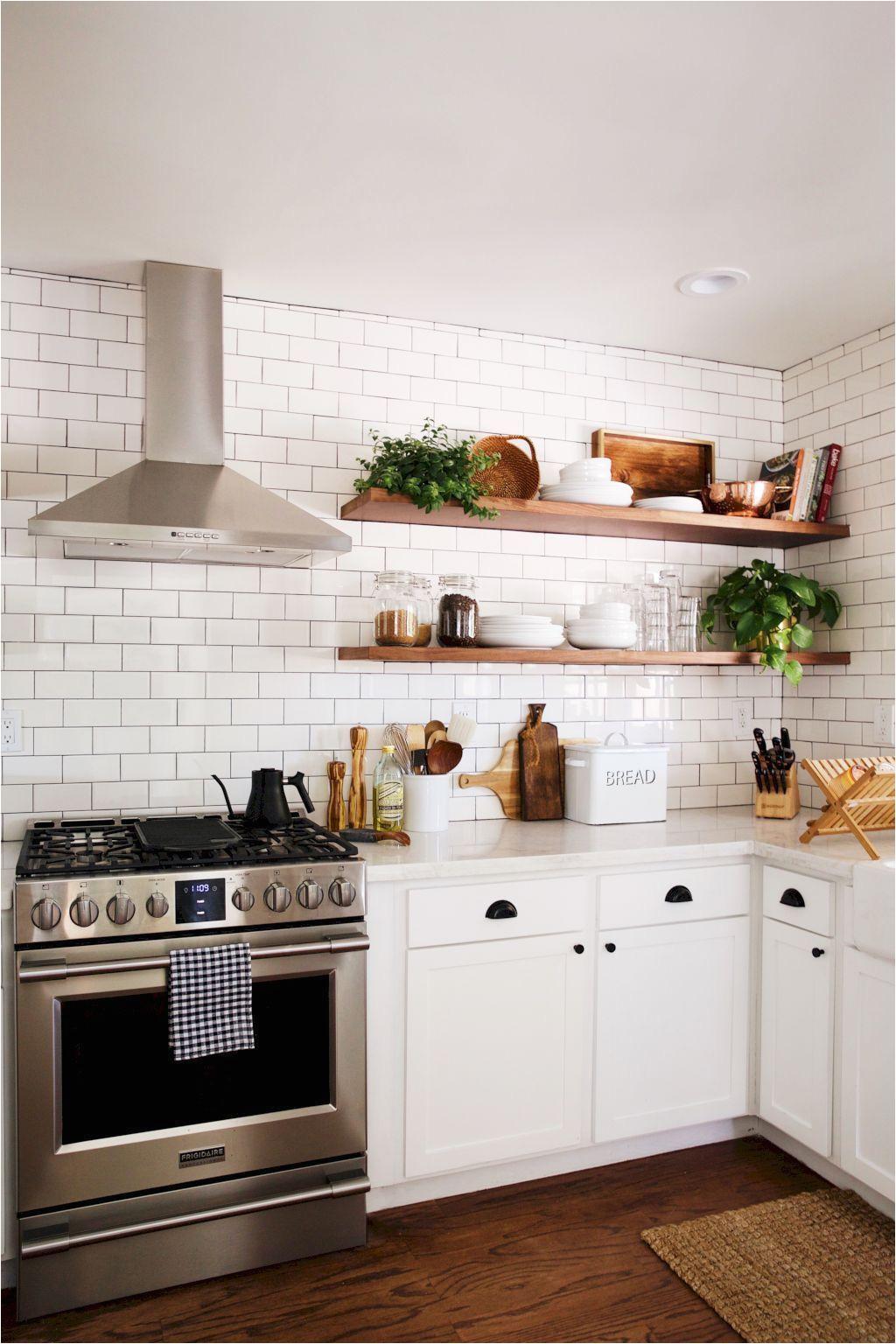 modern farmhouse kitchen decor ideas 32 kitchen with floating shelves small kitchen tiles