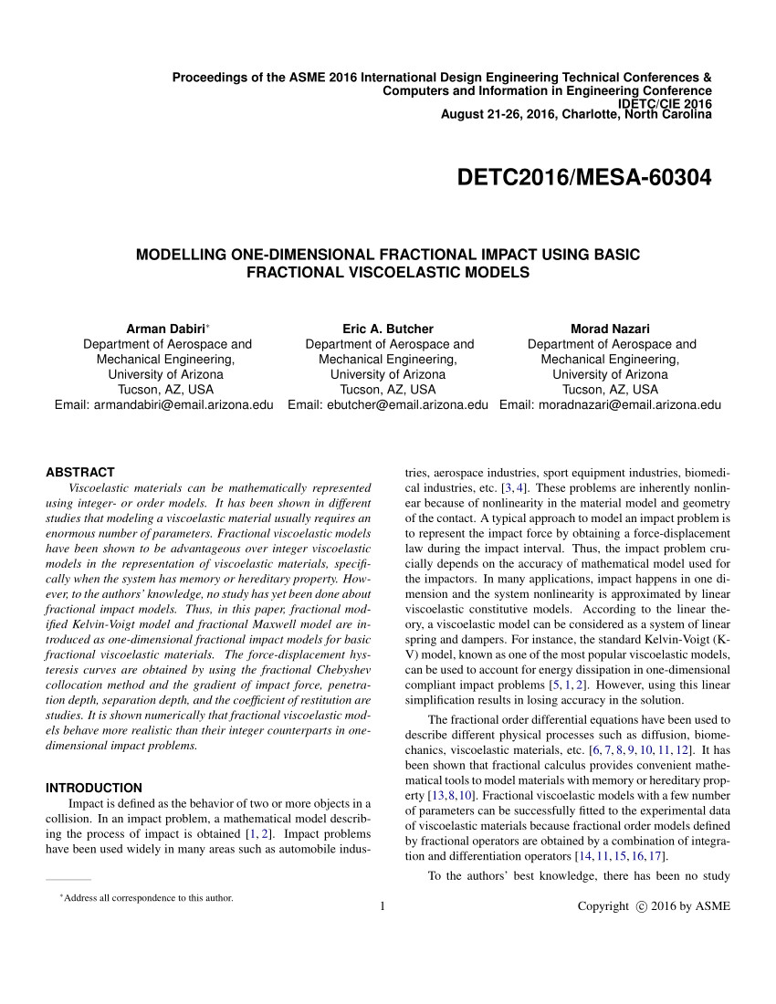 pdf modelling one dimensional fractional impact using basic fractional viscoelastic models received the best paper award