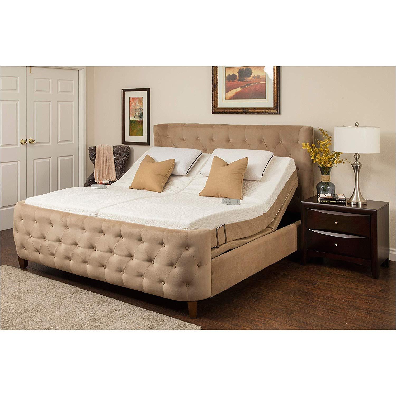 amazon com sleep zone malibu 12 inch split california king size memory foam and latex adjustable mattress set kitchen dining