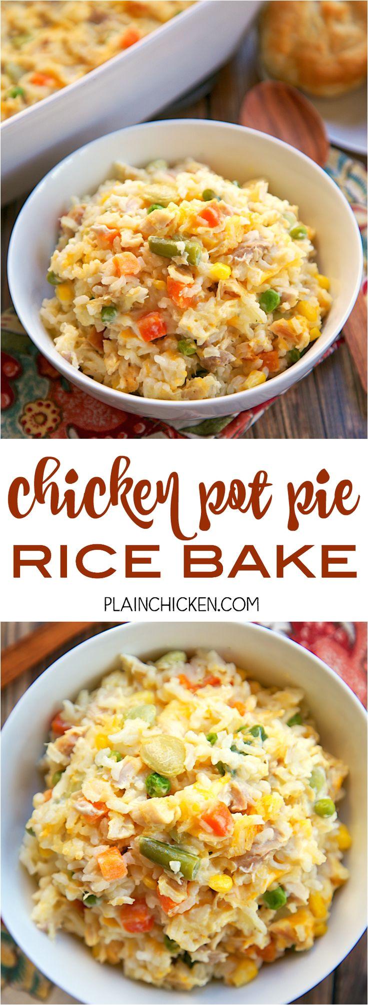 chicken pot pie rice bake chicken mixed vegetables cheddar cream of chicken