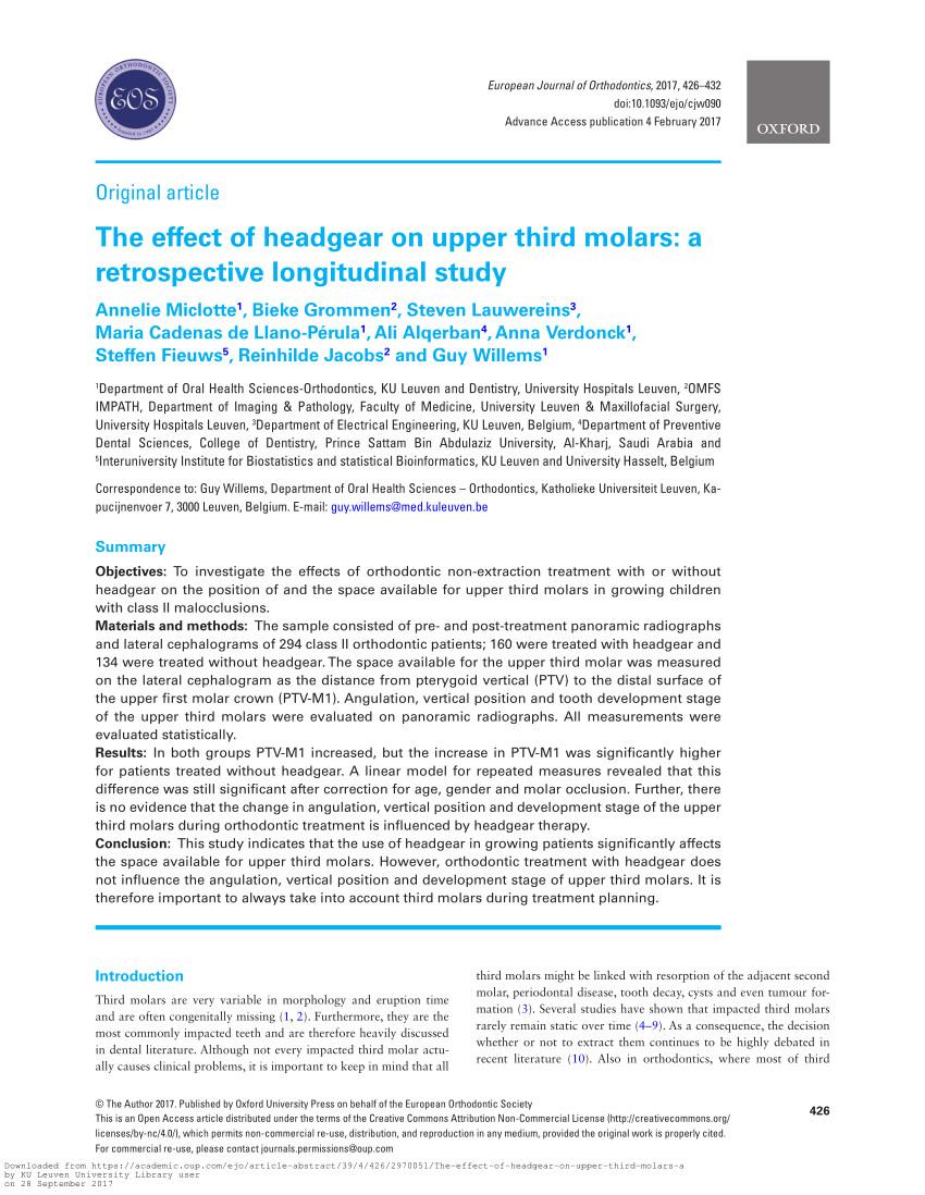 pdf role of third molars in orthodontics