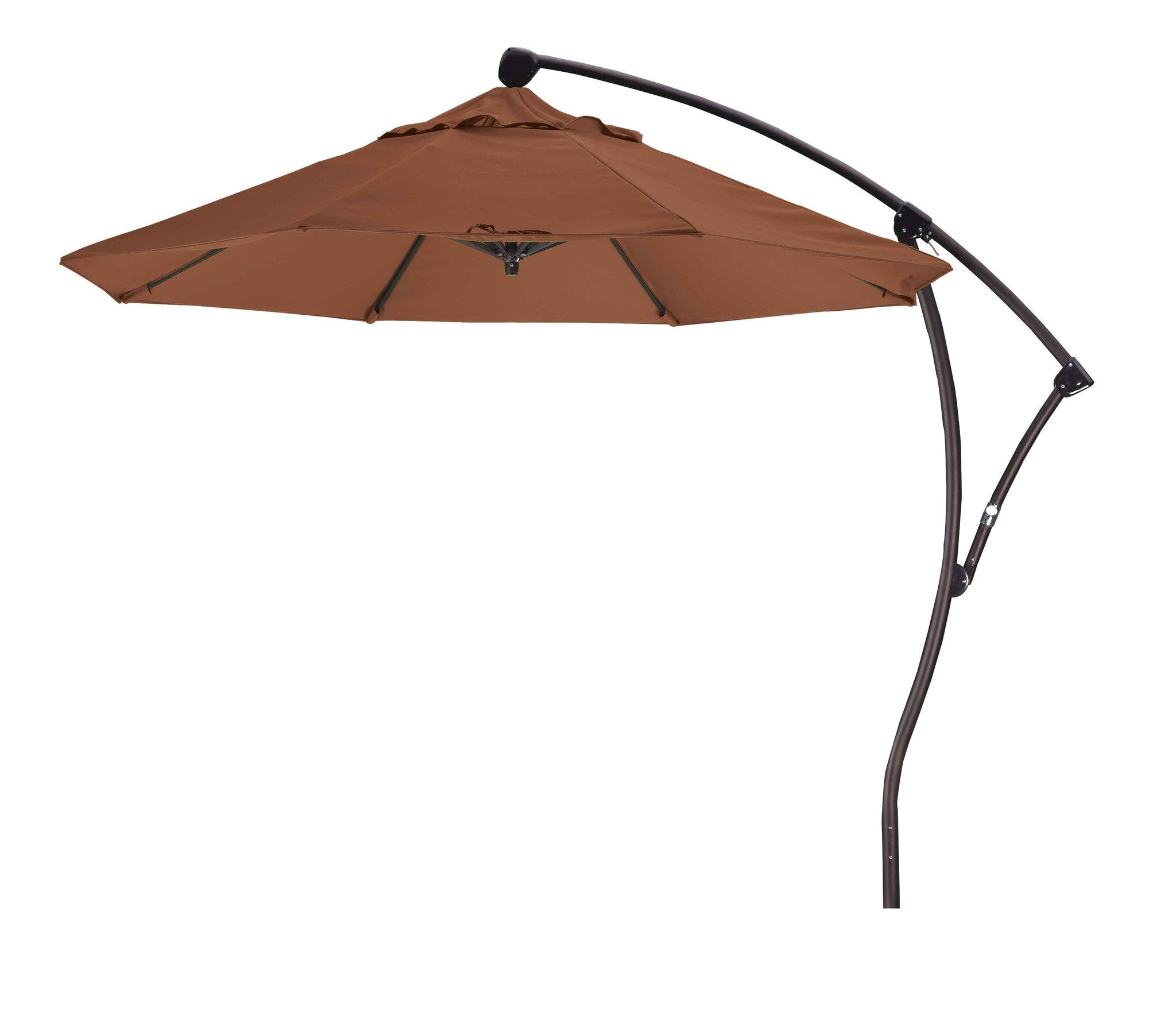this 9 foot round cantilever umbrella offers wide sun protection on your patio this outdoor umbrella is made from stainless steel and features sunbrella