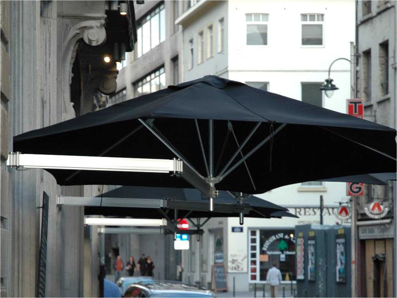 luxury umbrellas paraflex duo wallflex 9 foot push lift tilt patio wall mount umbrella set of