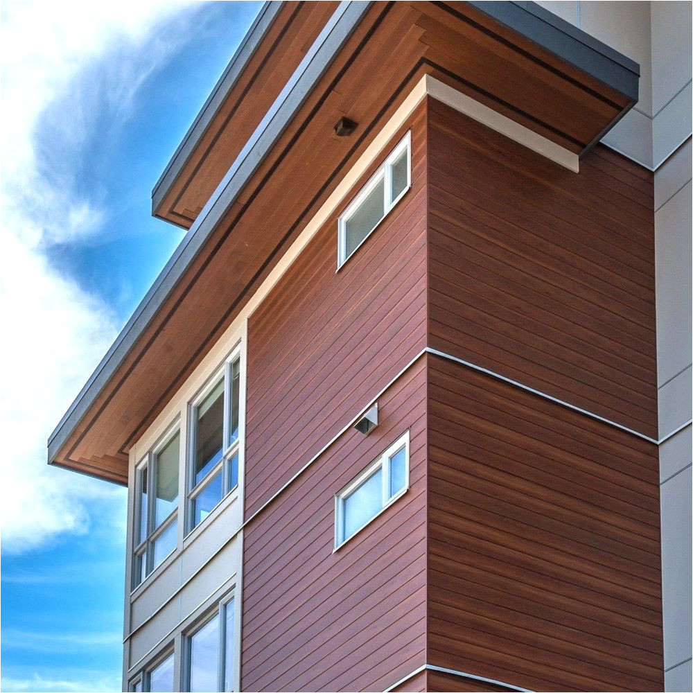 longboard aluminum cladding 6 v groove dark cherry faux wood panelling wood accent feature soffit siding covering house building store