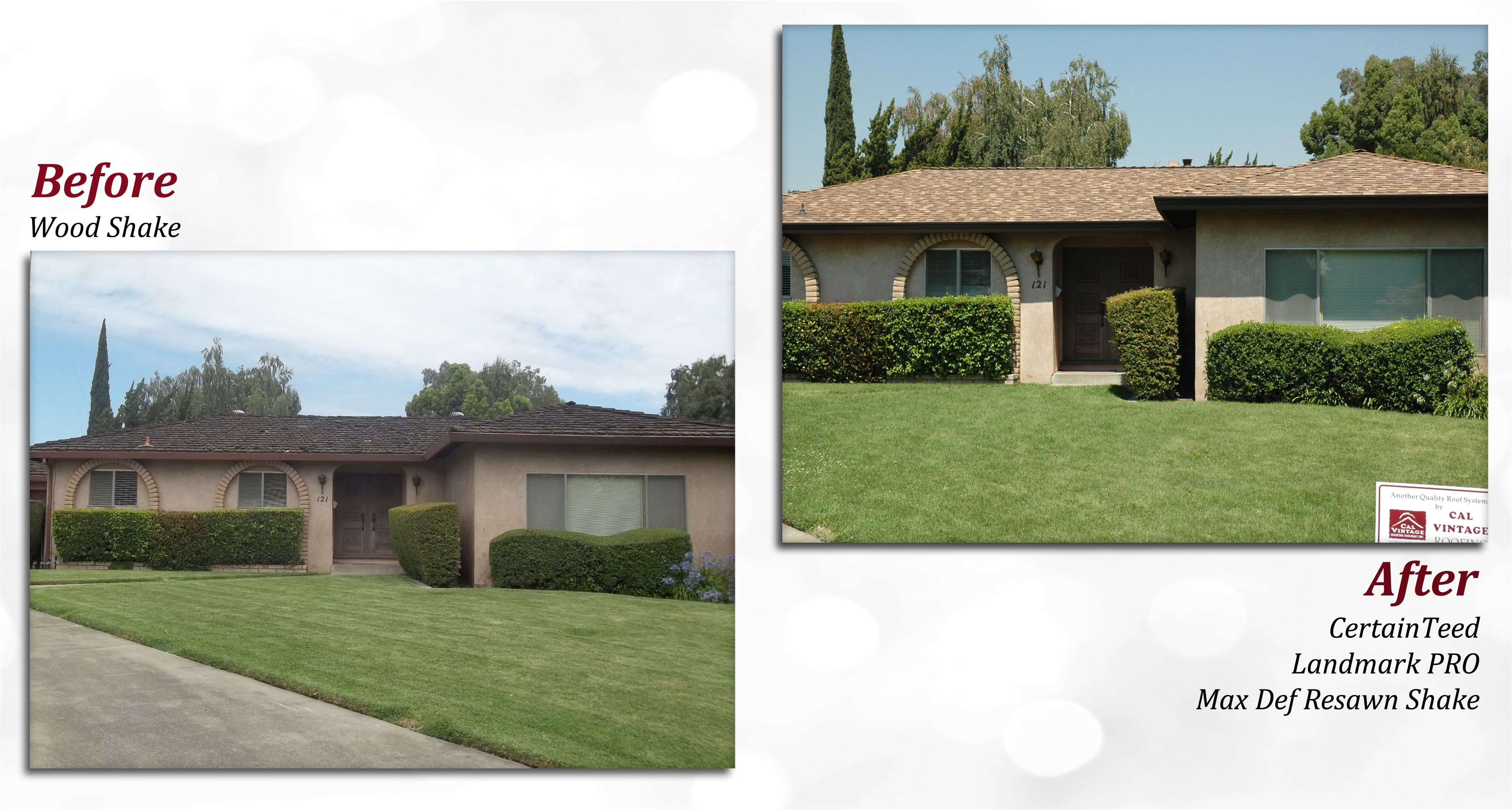 before after of a certainteed roof profile landmark pro color max def resawn shake