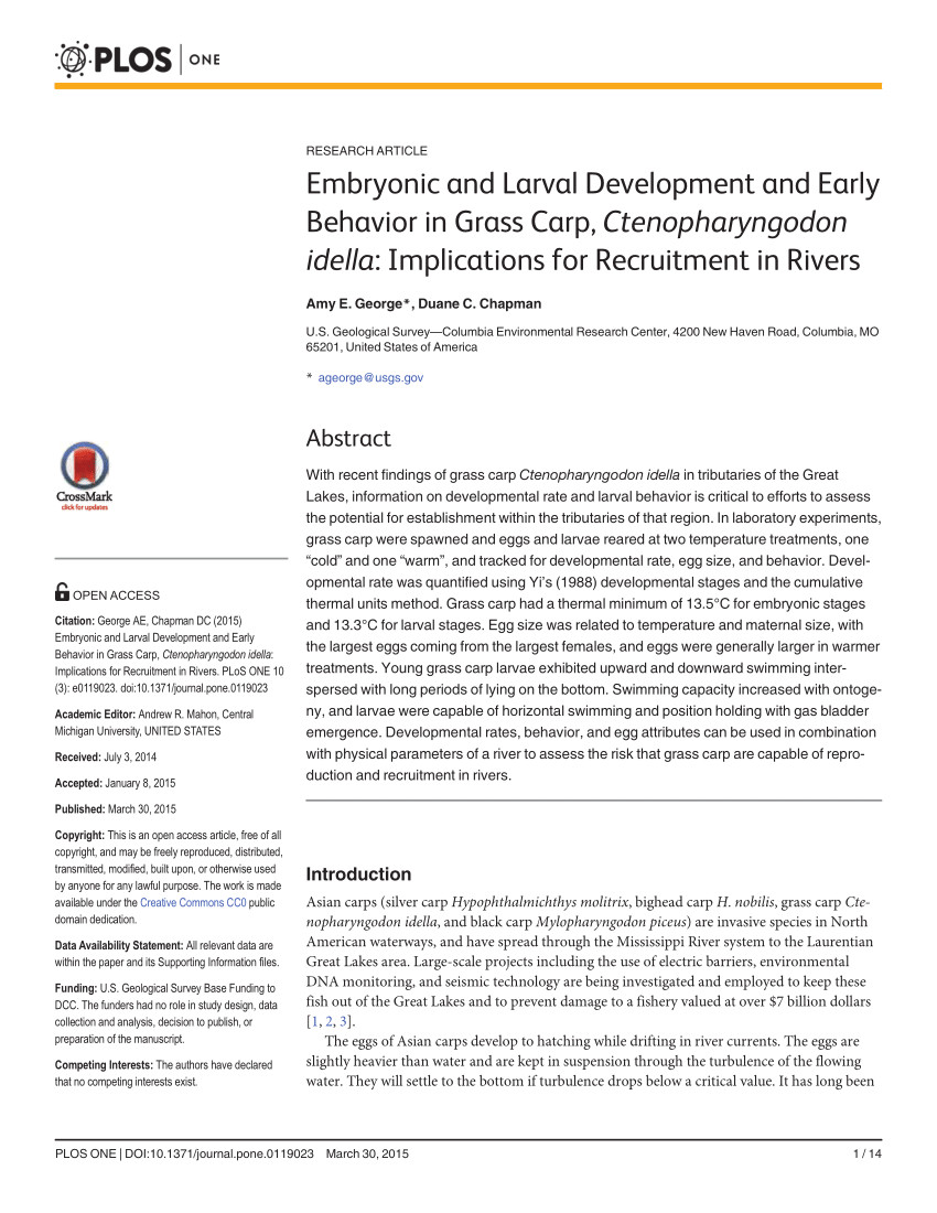 pdf embryonic and larval development and early behavior in grass carp ctenopharyngodon idella implications for recruitment in rivers