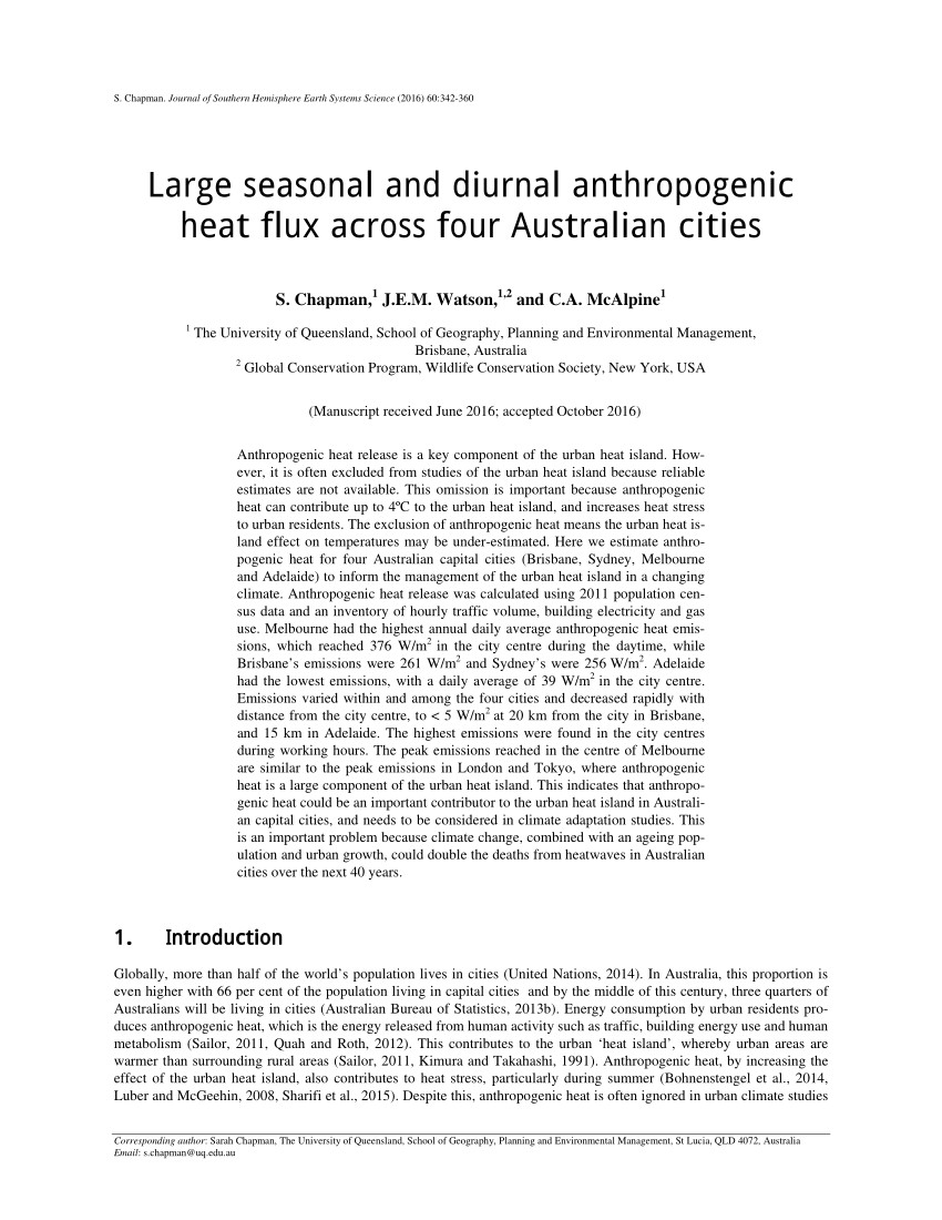pdf large seasonal and diurnal anthropogenic heat flux across four australian cities
