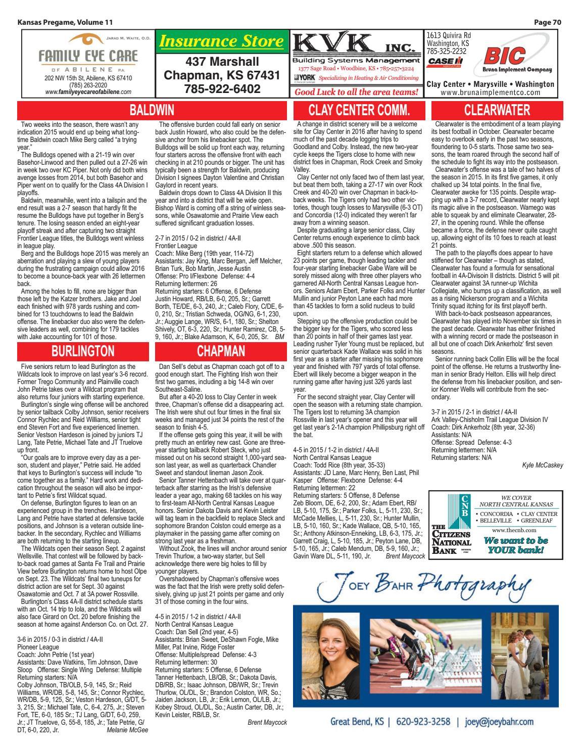 Chapman Heating and Cooling Dayton Wa Kansas Pregame Football Preview 2016 by Sixteen 60 Publishing Co