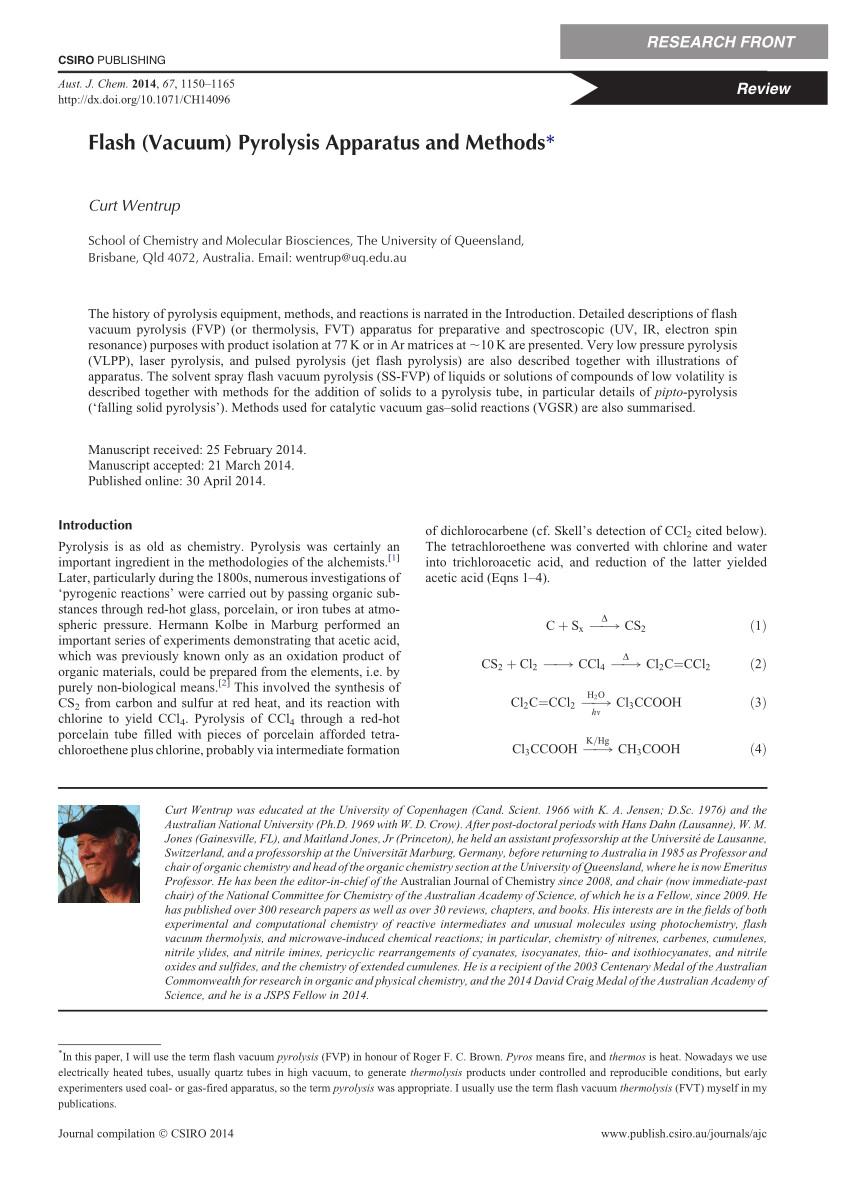 pdf flash vacuum pyrolysis apparatus and methods