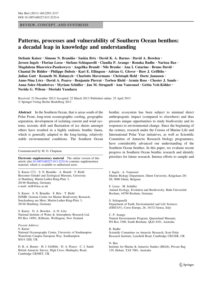 pdf possible effects of global environmental changes on antarctic benthos a synthesis across five major taxa
