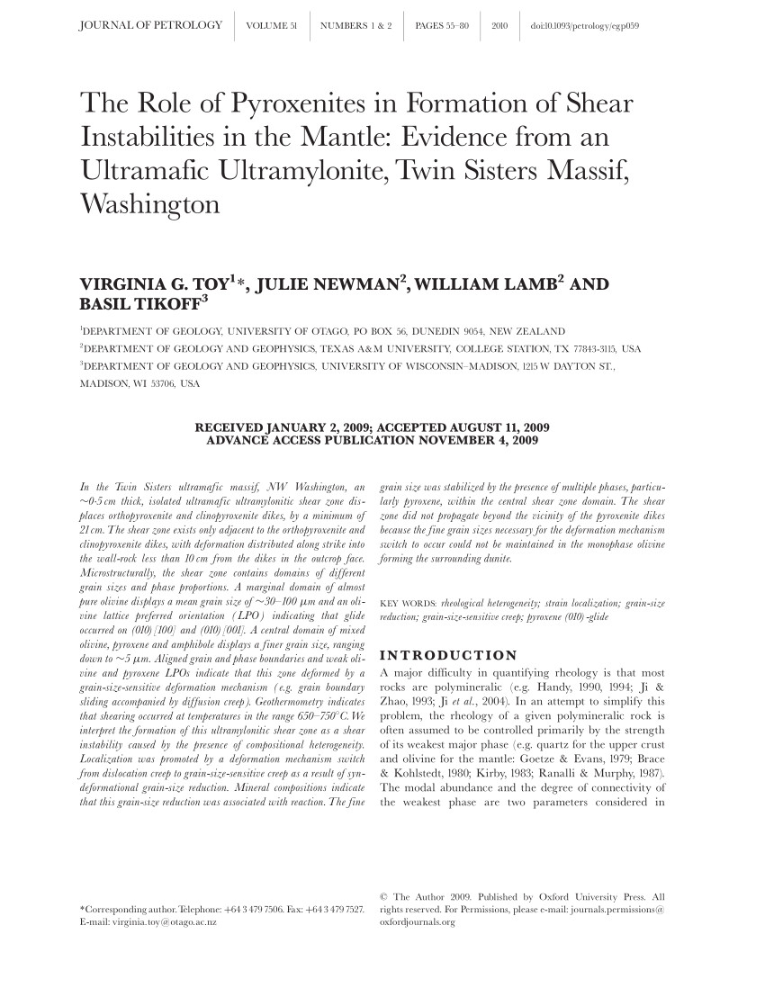 pdf the role of pyroxenites in formation of shear instabilities in the mantle evidence from an ultramafic ultramylonite twin sisters massif washington