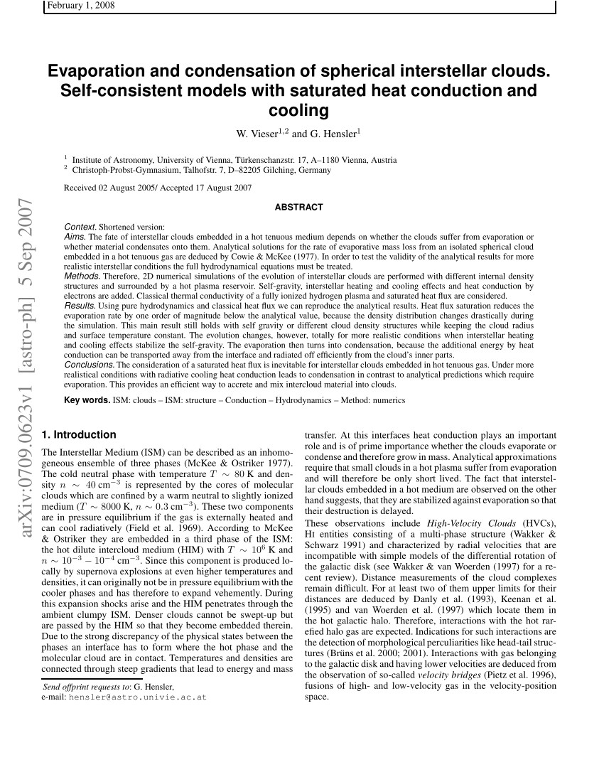 pdf evaporation and condensation of spherical interstellar clouds self consistent models with saturated heat conduction and cooling