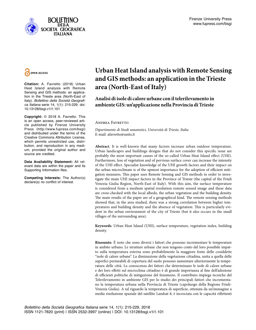 pdf urban heat island analysis with remote sensing and gis methods an application in the trieste area north east of italy