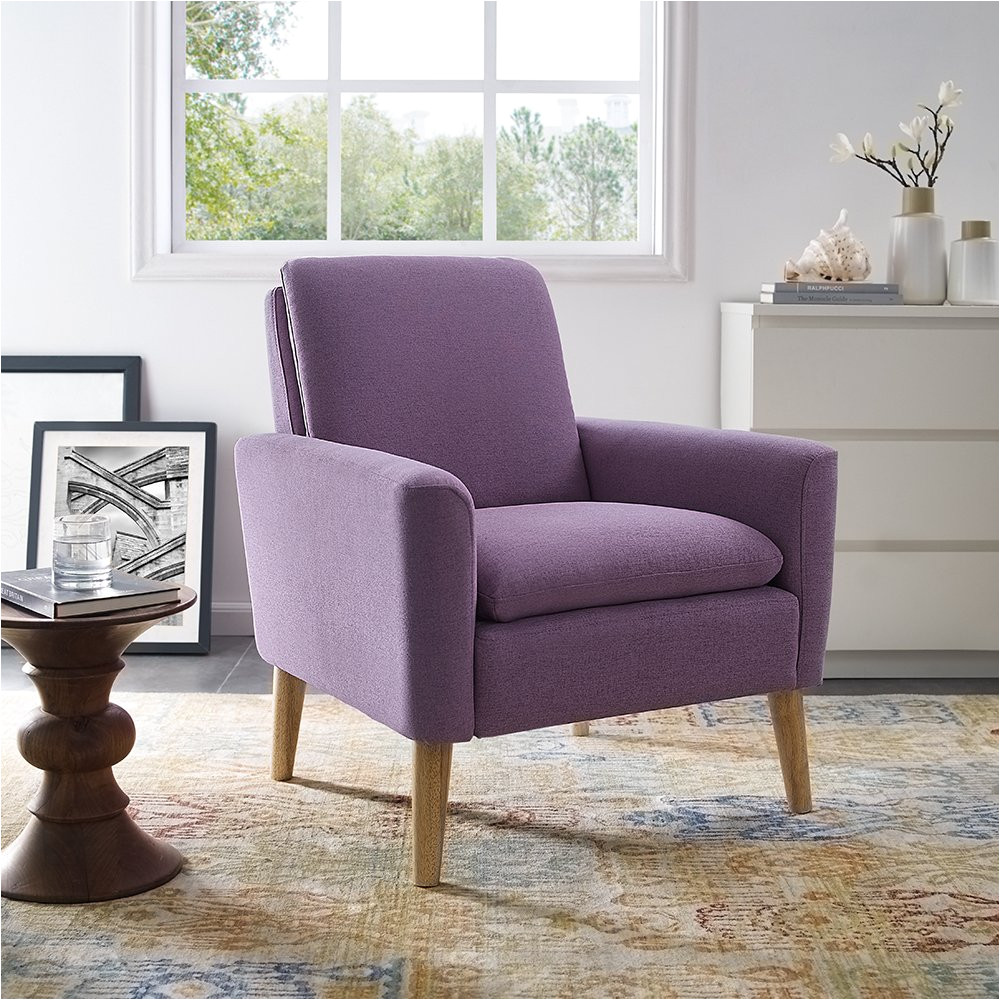 amazon com lohoms modern accent fabric chair single sofa comfy upholstered arm chair living room furniture purple kitchen dining
