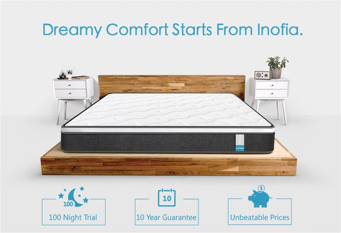 amazon com queen mattress inofia luxury double mattress pocket spring hybrid mattress comfy high density foam mattress with breathable comfort layer 9