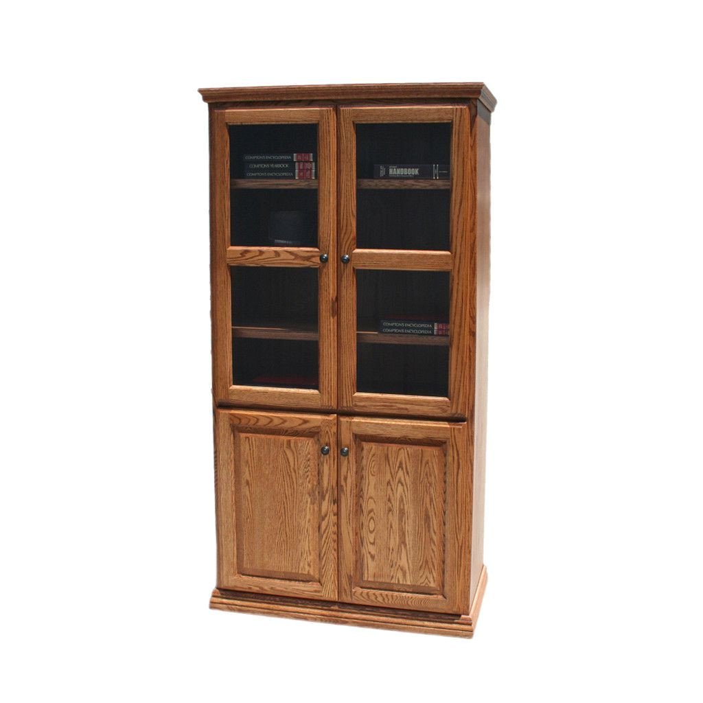 solid wood furniture albuquerque od o t3672 fd glass wood traditional oak bookcase 36 quot