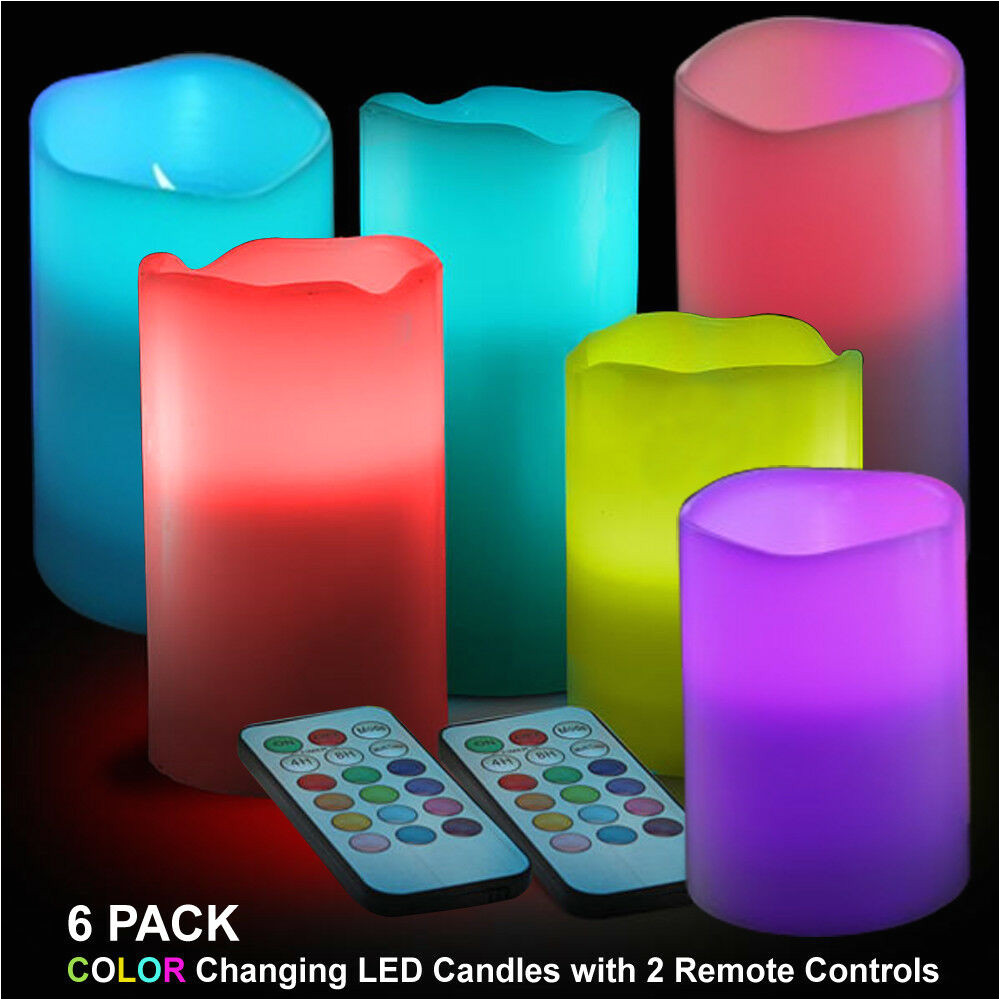 6 pack real wax led flameless colour changing candle lights w 2 remote controls ebay