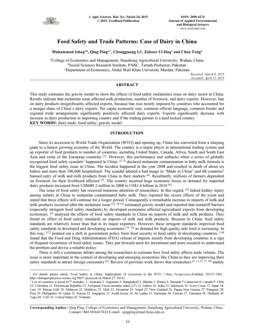 pdf melamine food recalls effects of melamine on animal human health food safety and economic trade