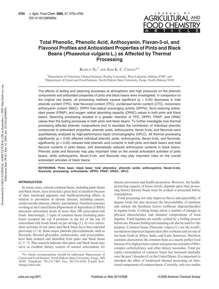 pdf total phenolic phenolic acid anthocyanin flavan 3 ol and flavonol profiles and antioxidant properties of pinto and black beans phaseolus vulgaris
